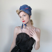 ON HOLD for Jetteu - 1940's Vintage Hat, WWII Era, Blue, Old Hollywood, Couture, Pin Up, Avant Garde
