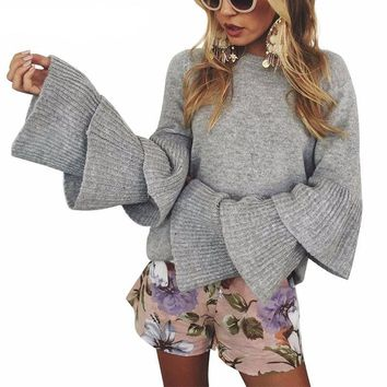 Ruffle flare sleeve sweater