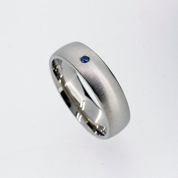 Blue sapphire wedding band, white gold ring, man sapphire ring, men blue wedding ring, wide, modern, contemporary, sapphire ring, custom