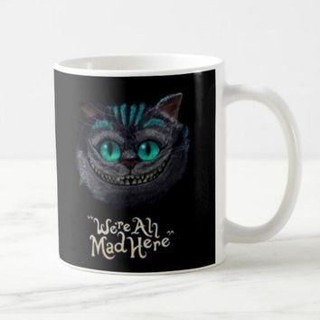645056ae3 Hot Cheshire Cat Alice in Wonderland Mug We're All Mad Here Ches