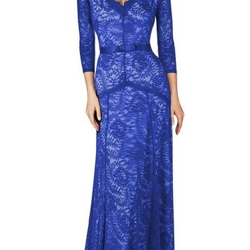 Sexy Plunging Neck Three Quarter Sleeve Blue Lace Dress