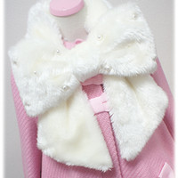 Fancy Ribbon Fur Muffler - White [132G10-9524-wh] - $71.00 : Angelic Pretty USA