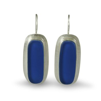 Inspired UPCYCLING Blue Oval Vintage Glass Earrings