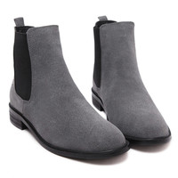 Gray Fleece Lining Suedette Ankle Boots