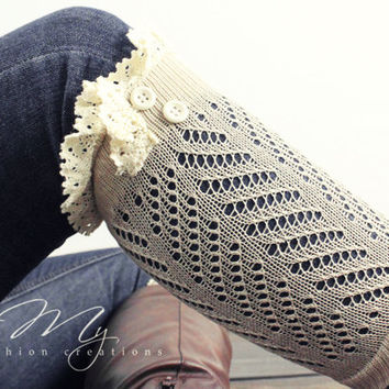 Womens Knit Boot Cuffs, Ivory Boot Socks, Lace Boot Cuffs, Buttons, Knit Boot Socks, Knitted Boot Toppers, Lacy Boot Socks, Leg Warmers