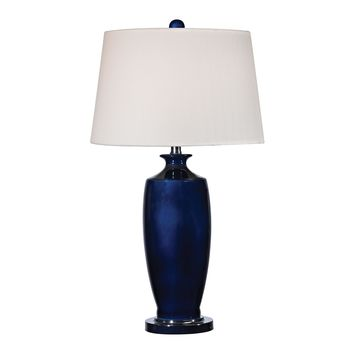 D2524 Halisham Ceramic Table Lamp in Navy Blue - Free Shipping!