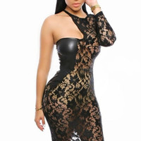 Leatherette Insert One Sleeve Sassy Lace Club Bodycon Dress