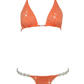 Bringing Sexy Back Rhinestone Triangle Top Brazilian Two Piece Bikini Swimsuit