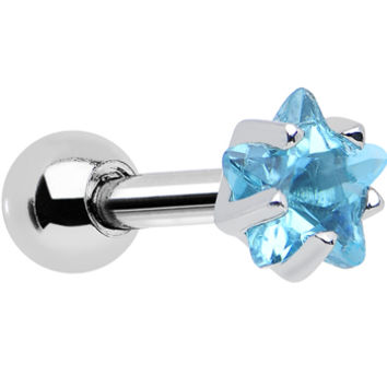 4mm Aqua Cubic Zirconia Star Cartilage Tragus Earring | Body Candy Body Jewelry