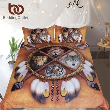 BeddingOutlet Wolf Dreamcatcher Bedding Set Native American Duvet Cover 3D Animal Tribal Bedspreads Lion Tiger Leopard Bed Set