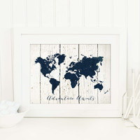 Adventure Awaits Poster, Rustic Travel Themed Art Print in Faux White Wood and Navy Map Silhouette