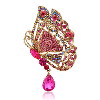 Butterfly Multicolor Water Drop Crystal Brooches