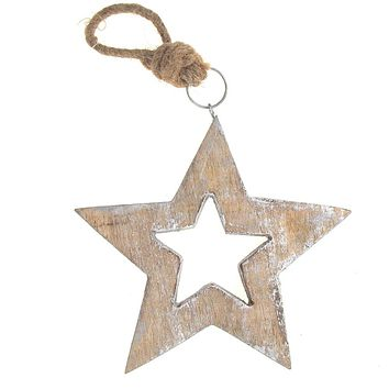 Hanging Wooden Distressed Star Cut-Out Christmas Ornament with Silver Edges, Natural/Silver, 6-Inch