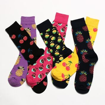 2018 New Arrival Fashion Socks Women Cherry/Pineapple/Grapefruit Jacquard Unisex Crew Happy Socks Calcetines Women/Men Socks