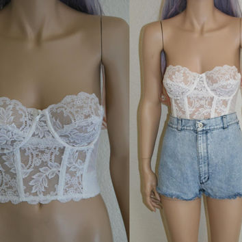 90s bustier white lace floral brallet bralette corset bra top crop club kid hipster grunge festival boho rave steampunk 36 B 80s 70s