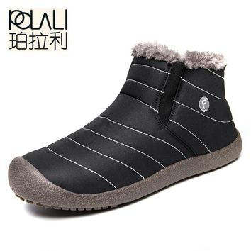 POLALI Big Size48New Fashion Men Winter Shoes Solid Color Snow Boots Plush Inside Antiskid Bottom Keep Warm Waterproof Ski Boots