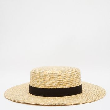 French Connection Straw Boater Hat at asos.com