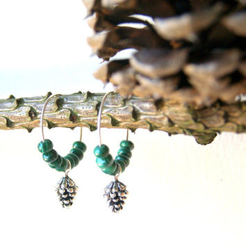 Pinecone Earrings - hoop earrings - pine cone earrings - green malachite - silver pine cones - Autumn Fashion - Woodland Fashion