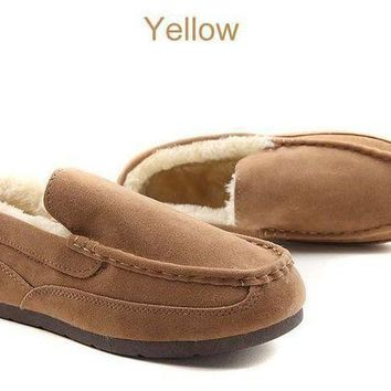 winter Suede leather women loafers Shoes fur inside warm