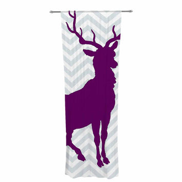"Suzanne Carter ""Chevron Deer"" Purple  Decorative Sheer Curtain"