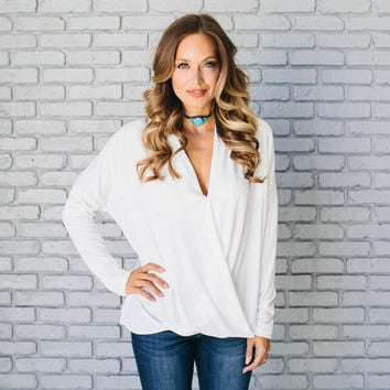 Comfort Wrap Jersey Blouse In Ivory