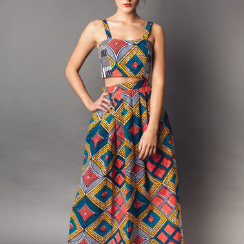 Coral, Blue & Orange African Print Maxi Skirt