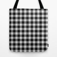 Sleepy Black and White Plaid Tote Bag by RichCaspian