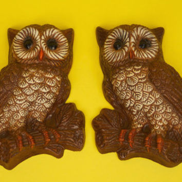 Vintage Owl Decor Wall Hanging Pair Retro Kitsch  Brown Feather Bird 1970s