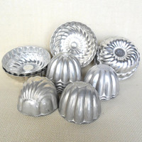 Tin Jello Molds, Mixed Lot of 15 Bundt, Tart, Candy, Soap Making Aluminum Craft Molds Destash