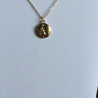 Initial Necklace Gold Plated Engraved A - Z