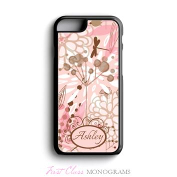 Pink & Brown Floral Name Personalized Phone Case