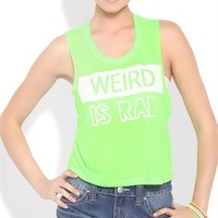 COTTON DEEP ARMHOLE CROP WITH WHITE WEIRD IS RAD BLOCK SCREEN