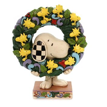 Jim Shore RING AROUND THE WREATH Polyresin Peanuts Snoopy Woodstock 6000984