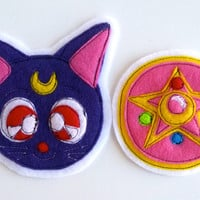 Luna or Sailor Moon locket pin/patch