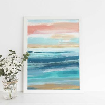 Beach Seascape Ocean Swell Abstract Painting Wall Art Print