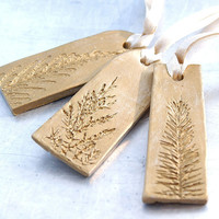 Clay Sculpture Ornament with Natural Plant Impression Christmas Holiday Decoration Gold Elongated