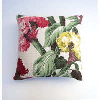 Sale Floral Motif Pillow Case Cover - 14 Inch Size - Vintage Bold Nubby Floral Fabric -
