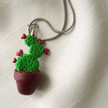 Cactus Necklace, Potted Cactus Jewelry, Cute Green Necklace, Polymer Clay Cactus, Pot Necklace Pendant