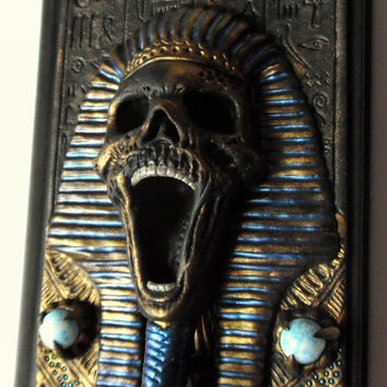 Polymer clay hardcover notebook notes sketchbook or diary with egyptian mummy pharaoh, gothic, skull a6 100 white sheets