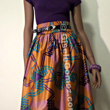 African Print Skirt - High waist & side pockets - 100% Cotton Avogba Midi Skirt in Java Hollandais - Jupes Africaines -Winter Gift Ideas