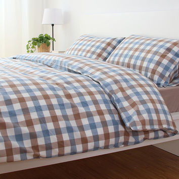 Bedroom Hot Deal On Sale Cotton Rinsed Denim Plaid Bedding Bedding Set [6451770950]