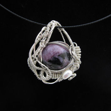Handmade Sterling Silver Wire Wrap Pendant with Chariote