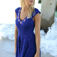 To Be Royal Lace Embellished V-Neck Royal Blue Flare Dress