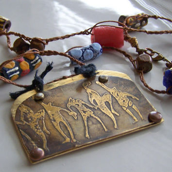 Etsy, Etsy Jewelry, Etched Tribal Necklace:  Etched Brass Necklace with Dancing Figures and African Trade Beads, African Necklace, Gift