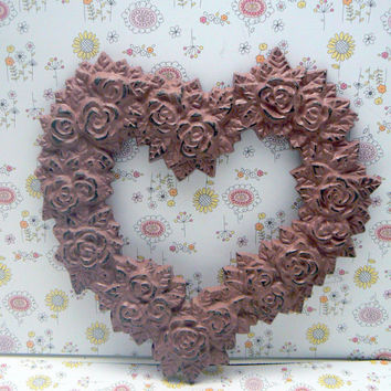 Rose Heart Ornate Decorative Cast Iron Wall Decor Plaque Dusty Rose Blush Distressed Shabby Chic French Decor, Paris,