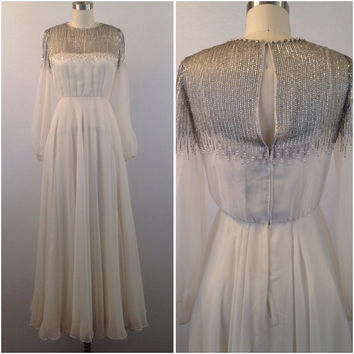 1960s White beaded chiffon gown- Vintage gown- Wedding dress- Vintage wedding dress- Chiffon dress
