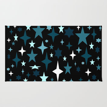 Teal Starry Night Area & Throw Rug by 2sweet4words Designs | Society6