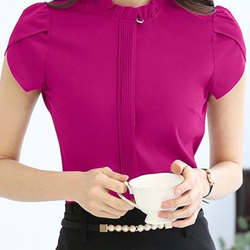Band Collar  Ruffle Trim  Plain  Petal Sleeve Blouse