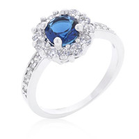 Sapphire Blue Halo Engagement Ring, size : 05