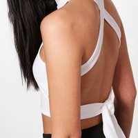 Avery Strappy Back High Neck Crop | Boohoo